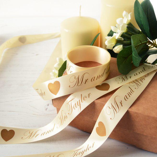 25mm Personalised Wedding Ribbon in Cream with Matt Antique Gold print