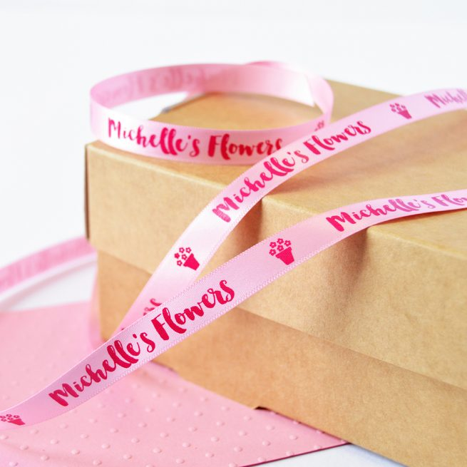 10mm Business Branded Ribbon in pastel pink with pink print