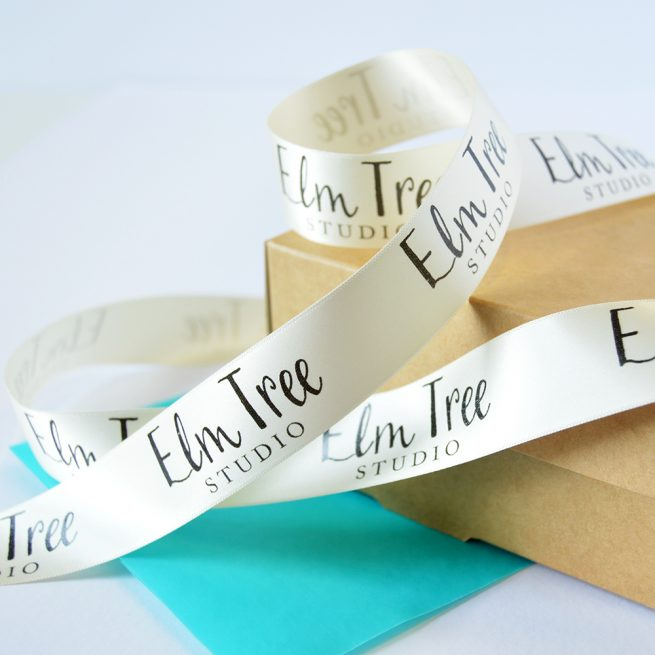 25mm Business Branded Ribbon in cream with black print