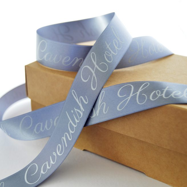 25mm Business Branded Ribbon in pewter with white print