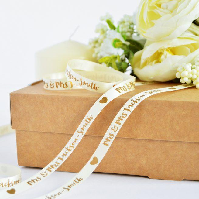 10mm Personalised Wedding Ribbon in Cream with Matt Antique Gold print