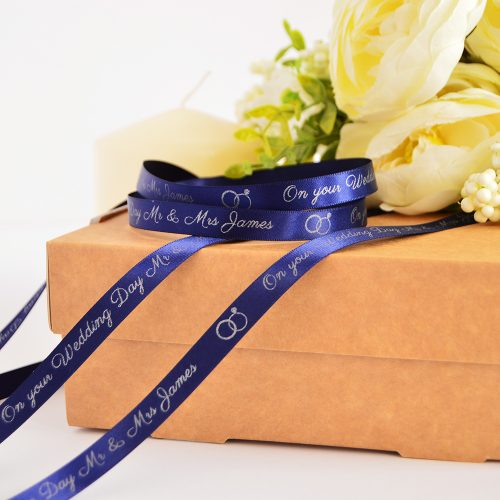 10mm Personalised Wedding Ribbon in Navy with Matt Silver print