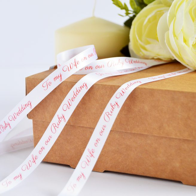 10mm personalised anniversary ribbon in white with red print