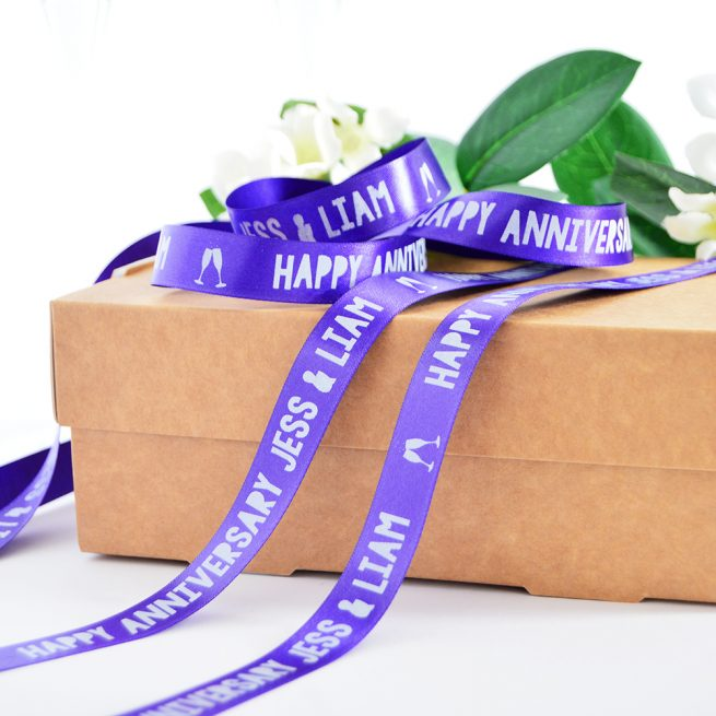 15mm personalised anniversary ribbon in purple with white print