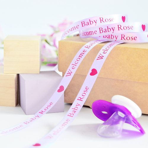 10mm Personalised Baby Ribbon in Lilac with Pink print