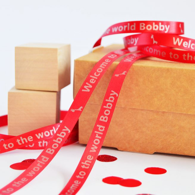 10mm Personalised Baby Ribbon in Red with Matt Antique Gold print