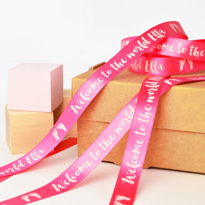 15mm Personalised Baby Ribbon in Fuchsia with White print