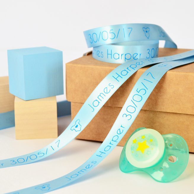 15mm Personalised Baby Ribbon in Pastel Blue with Cyan Blue print