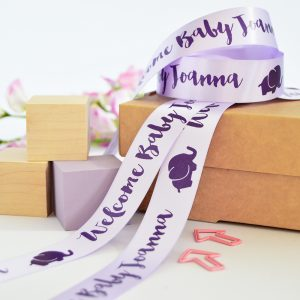 25mm Personalised Baby Ribbon in Lilac with Purple print