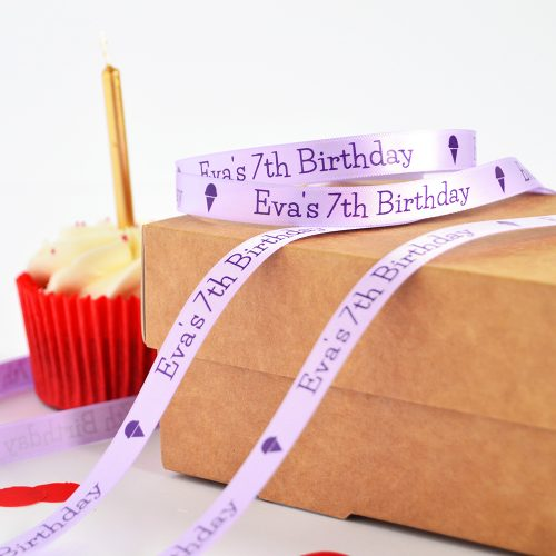 10mm Personalised Birthday Ribbon in lilac with purple print