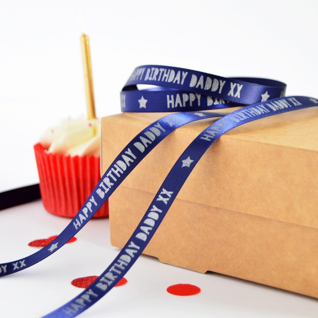 10mm Personalised Birthday Ribbon in navy blue with matt silver print