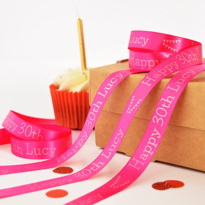 15mm Personalised Birthday Ribbon in fuschia with matt silver print