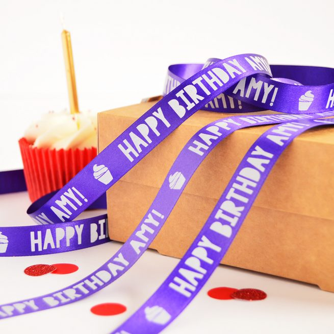 15mm Personalised Birthday Ribbon in purple with white print