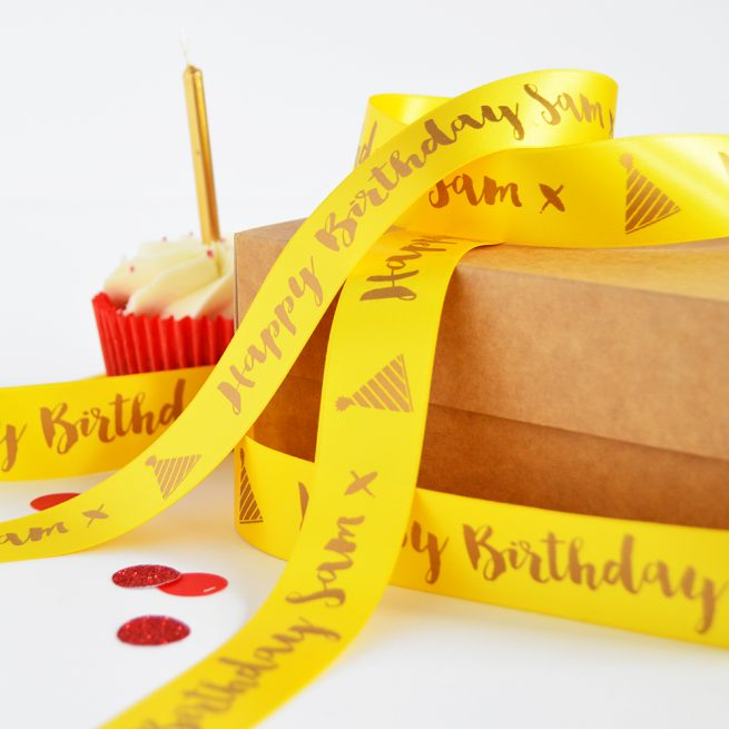 25mm Personalised Birthday Ribbon in Daffodil Yellow with matt antique gold print