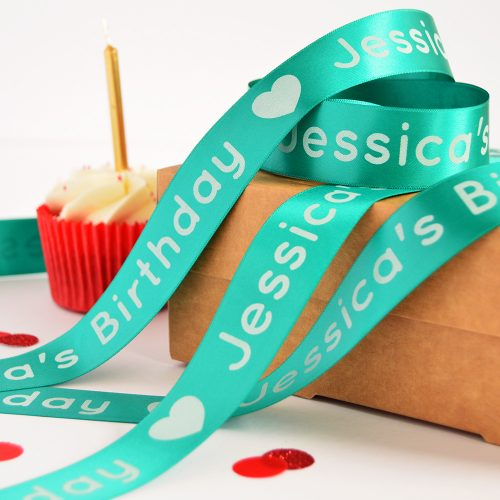 25mm Personalised Birthday Ribbon in teal with white print