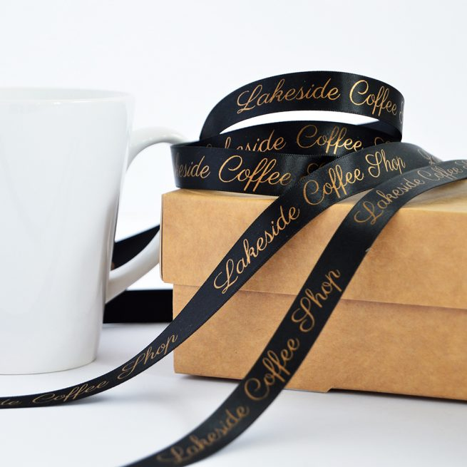 15mm Business Branded Ribbon in black with matt antique gold print