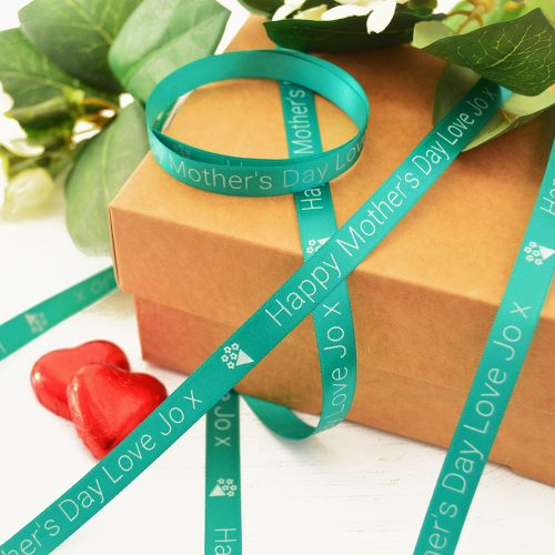10mm Personalised Mother's Day Ribbon in teal with white print
