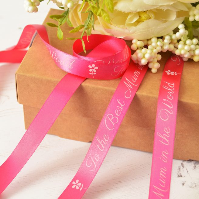 15mm Personalised Mother's Day Ribbon in fuchsia with white print