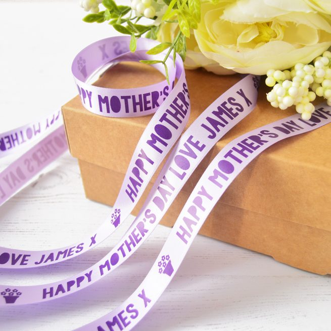 15mm Personalised Mother's Day Ribbon in lilac with purple print