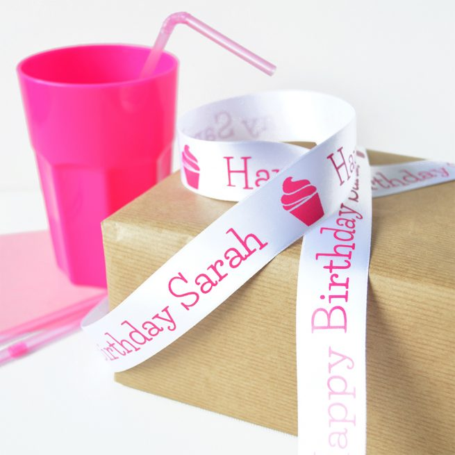 25mm Personalised Birthday Ribbon in white with pink print
