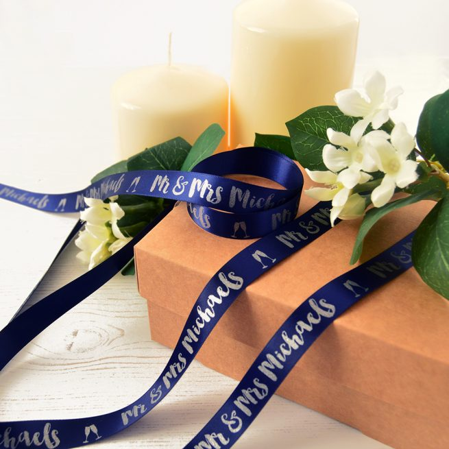 15mm Personalised Wedding Ribbon in Navy with Matt Silver Print