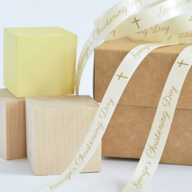 10mm Personalised Christening Ribbon in Cream with Matt Antique Gold print