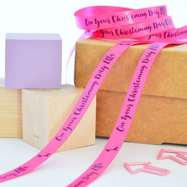 10mm Personalised Christening Ribbon in Fuchsia with Purple print