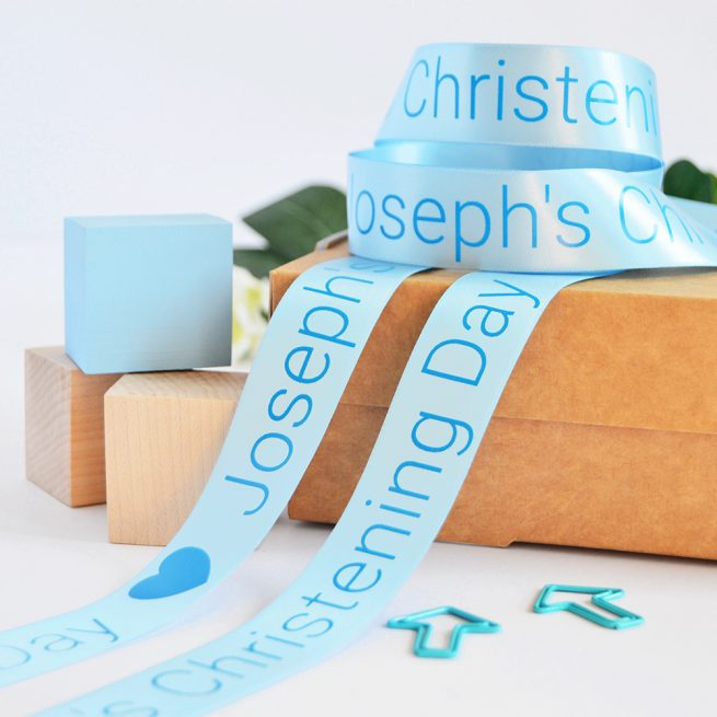 25mm Personalised Christening Ribbon in Pastel Blue with Blue print