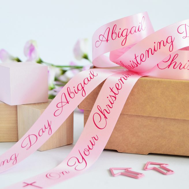 25mm Personalised Christening Ribbon in Pastel Pink with Pink print