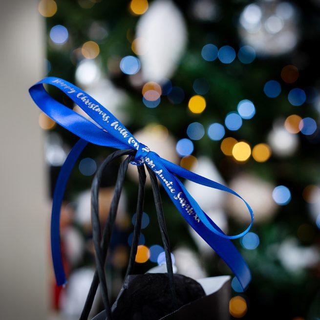 Royal Blue Christmas Gift Ribbon Personalised with Metallic Silver Print