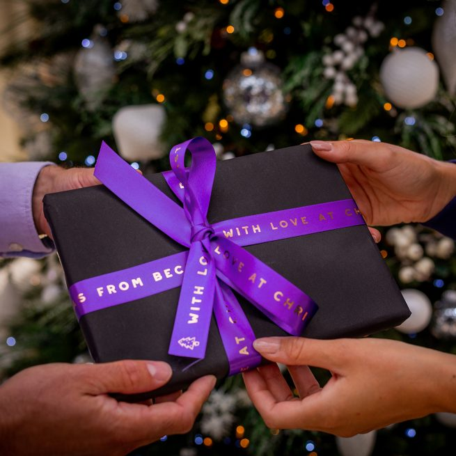25mm Purple Christmas Ribbon with Metallic Rose Gold Personalised Print