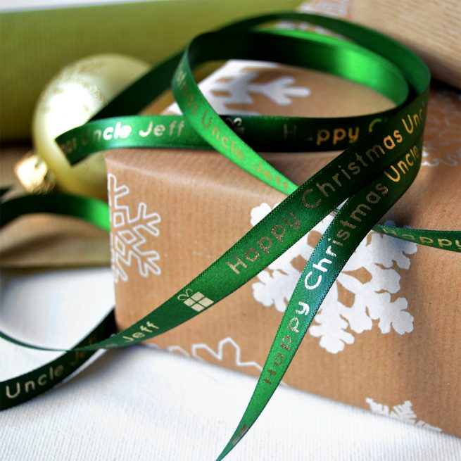 10mm Personalised Christmas Ribbon in Forest Green with Metallic Gold Print