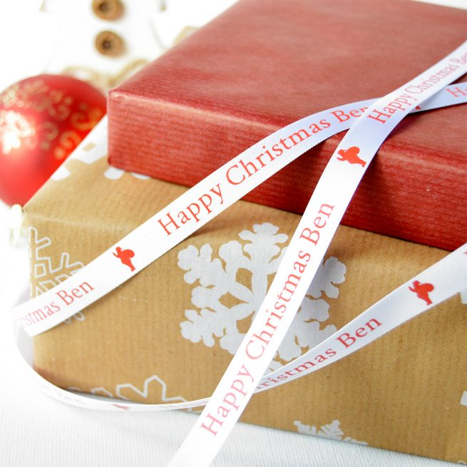 10mm Personalised Christmas Ribbon in White with Red print