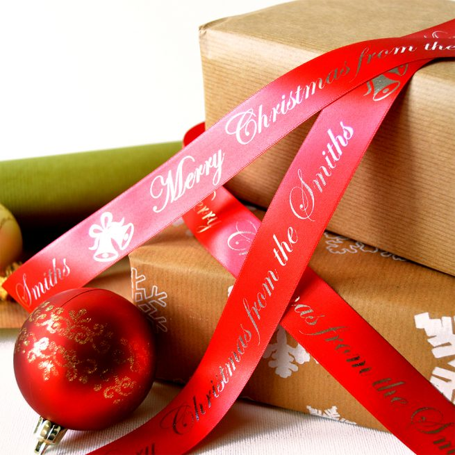 25mm Personalised Christmas Ribbon in Red with Metallic Gold print