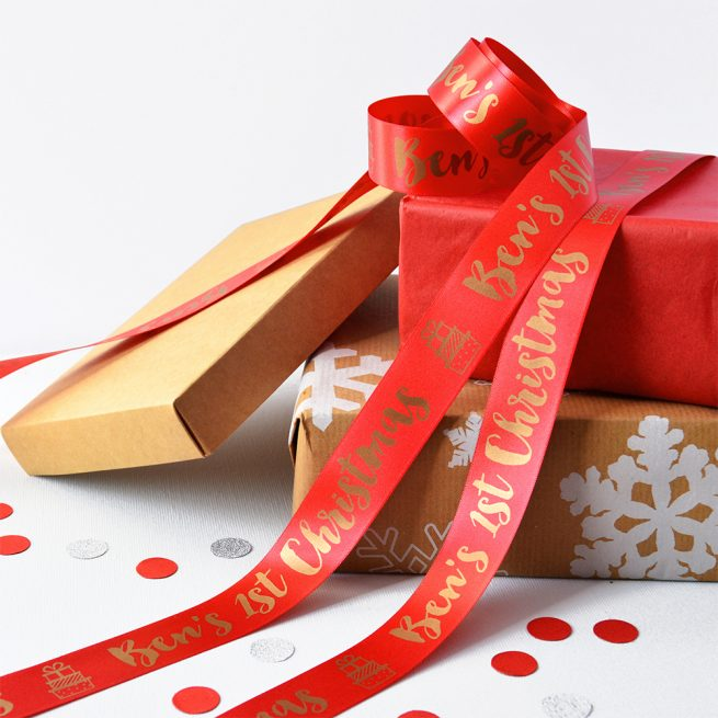 25mm Personalised Christmas Ribbon in Red with Matt Antique Gold print