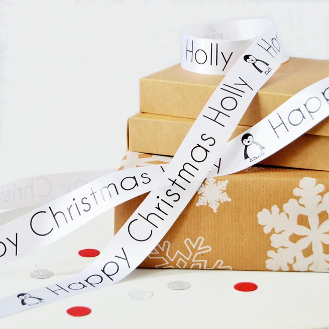 25mm Personalised Christmas Ribbon in White with Black print