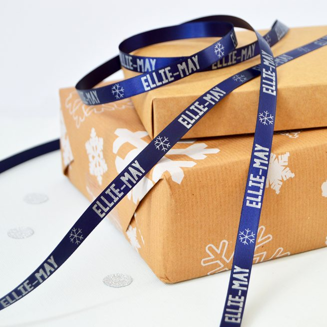 10mm Personalised Christmas Ribbon in Navy with Matt Silver print