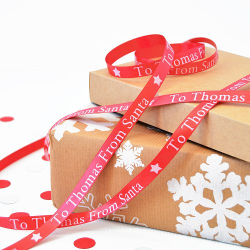 10mm Personalised Kid's Christmas Ribbon in Red with White Print