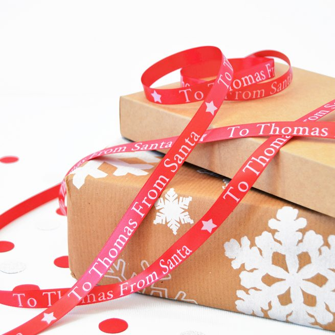 10mm Personalised Christmas Ribbon in Red with White Print