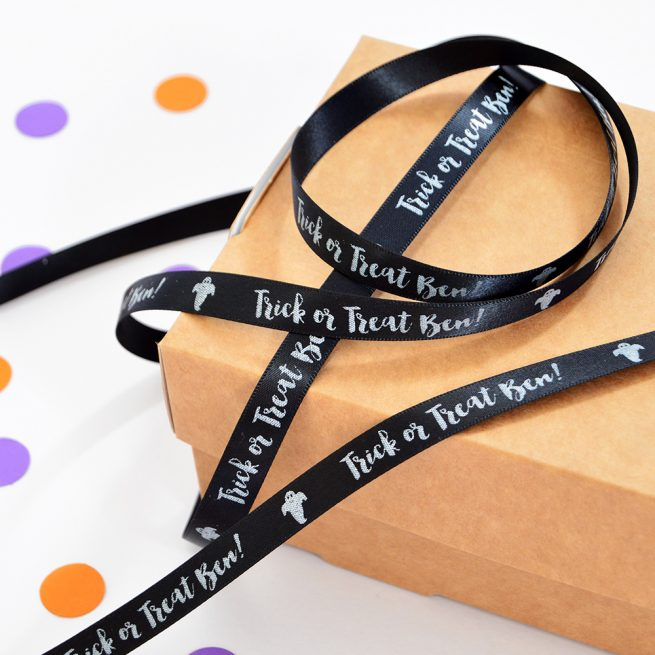 10mm personalised Halloween ribbon in black with white print