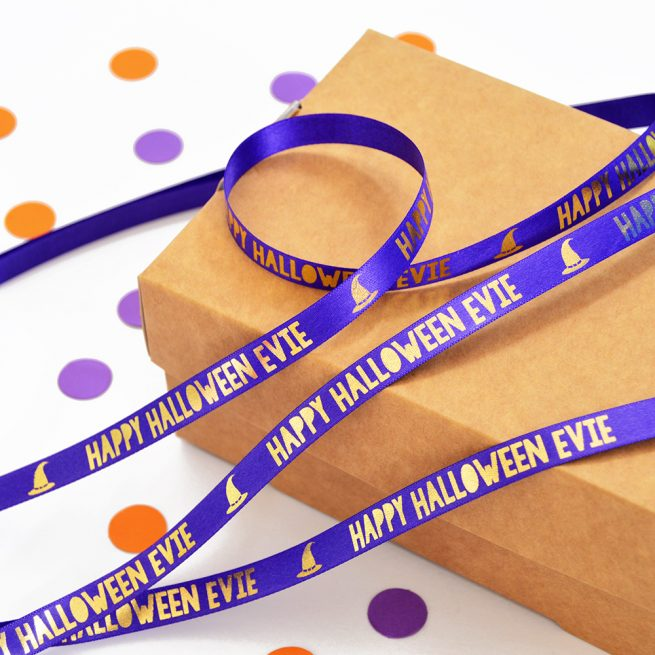10mm personalised Halloween ribbon in purple with metallic gold print