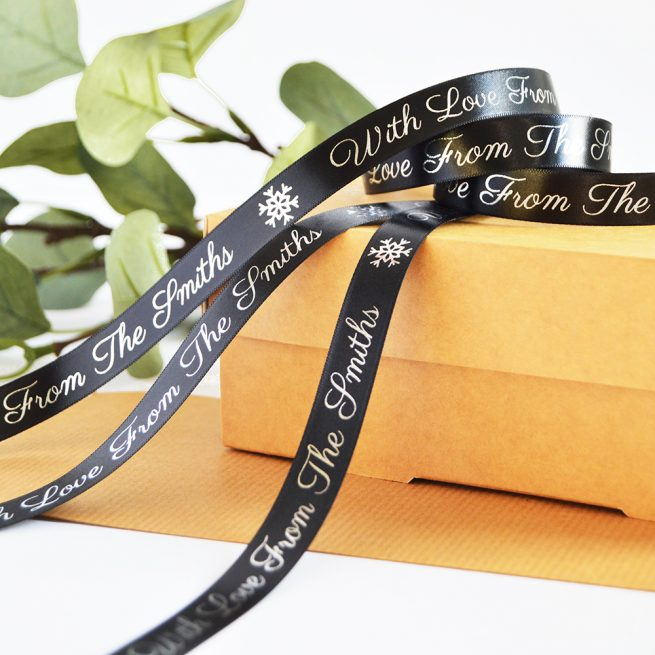 15mm Personalised Christmas Ribbon in Black with Metallic Silver Print