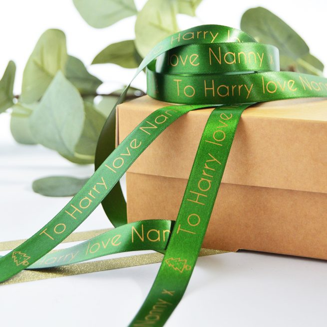 15mm Personalised Christmas Ribbon in Forest Green with Matt Antique Gold Print
