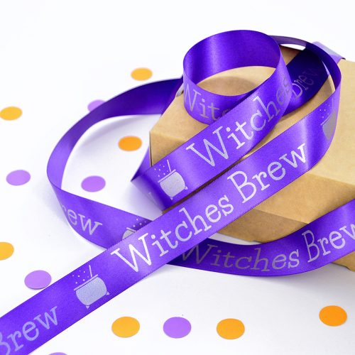 25mm personalised Halloween ribbon in purple with matt silver print