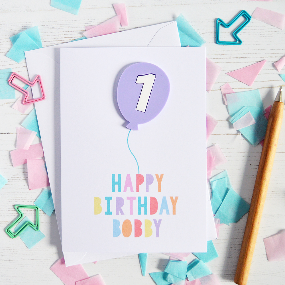Personalised Lilac Balloon 1st Birthday Card