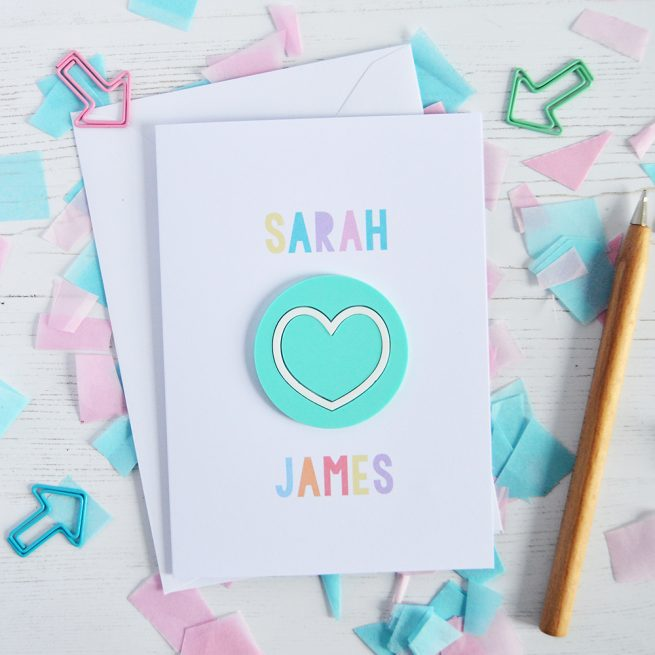 Personalised Mint Love Heart Valentine's Card
