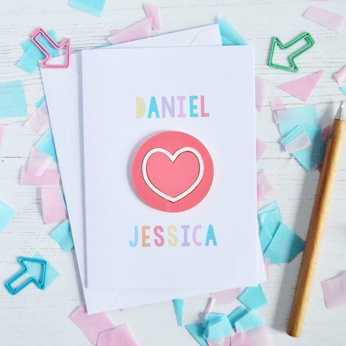 Personalised Raspberry Love Heart Valentine's Card