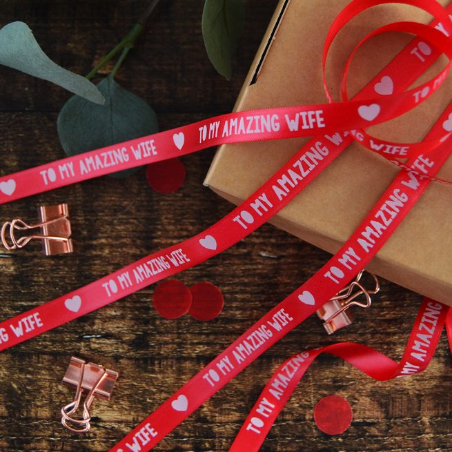10mm Personalised Valentine's Day Ribbon in red with white print