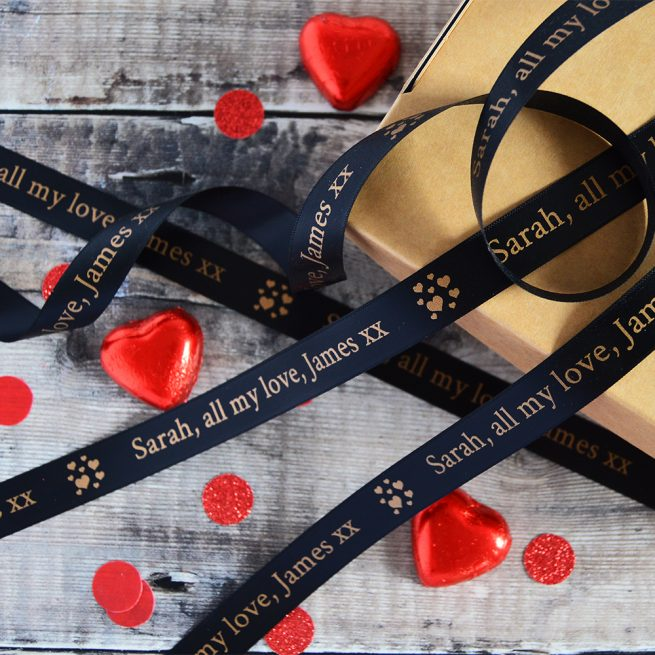 15mm Personalised Valentine's Day Ribbon in black with matt antique gold print