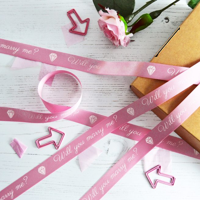 15mm Personalised Valentine's Day Ribbon in pastel pink with white print